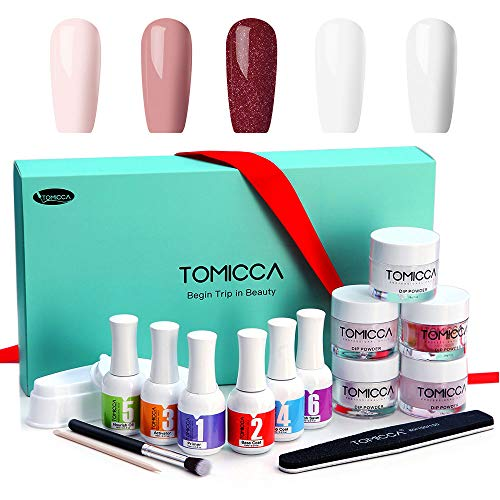 Dipping Powder Nail Kit Tomicca Nail Dip Powder French Manicure nail art Kit System Come with Primer, Top Base Coat, Activator, Nourish Oil, Brush Saver and French Dipping Tray