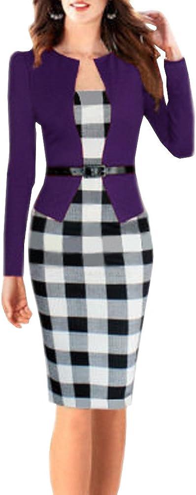 LIYT-TIERMEI Women's False Two-Piece Long-Sleeved Profession One-Piece Dress