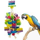 Parrot Dell'uccello del Giocattolo Giocattolo, Appeso A Catena Corda del Cotone di Colore Legno Block, Parrot Bite Toy Bite String