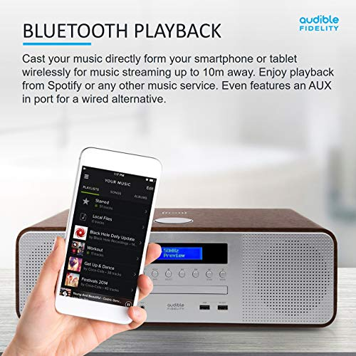AUDIBLE FIDELITY Complete Hi-Fi DAB/DAB+ Stereo System CD Player With Speakers, Wireless Charging & USB Charging, Bluetooth, MP3 Playback, FM & Digital Radio with Remote Control