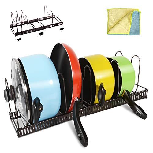 Masthome Organizador Ajustable para Sartenes con Capacidad para 7 Sartenes y Tapas para Utensilios de Cocina y Almacenamiento,Soporte para Sartenes con 1 Paño de Limpieza