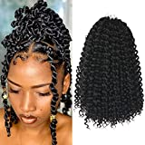 Niseyo 12 Inch Water Wave Crochet Hair for Butterfly Locs 7 Packs Short Ombre Water Wave Passion Twist Braiding Hair (12 Inch, 1B)