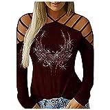 t Shirt Manica Lunga Regali di Natale Magliette Casual a Maniche Lunghe con Borchie scollate alla Moda da Donna (XL,1Rosso)