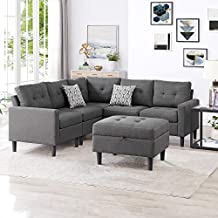 Good & Gracious Modular Sectional Corner Sofa Large L-Shaped Couch Set with Modern Polyester Fabric Storage Ottoman for Living Room Dark Grey