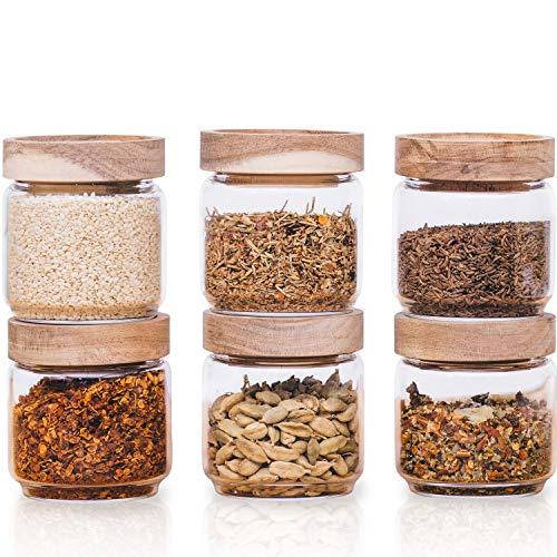 Econovo® Gewürzgläser Set mit Deckel (6-teilig) aus mundgeblasenem Borosilikatglas, Gewürzdosen Vorratsglas luftdicht, Vorratsdosen Glas-Behälter Set für Gewürze und Lebensmittel klein 150ml