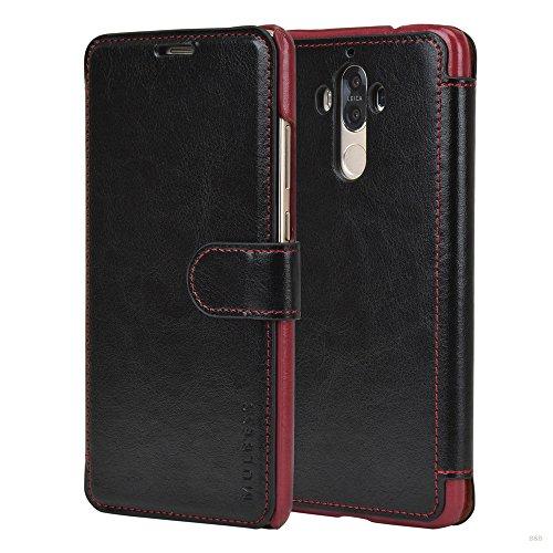 Mulbess Handyhülle für Huawei Mate 9 Hülle Leder, Huawei Mate 9 Handy Hüllen, Layered Flip Handytasche Schutzhülle für Huawei Mate 9 Hülle, Schwarz