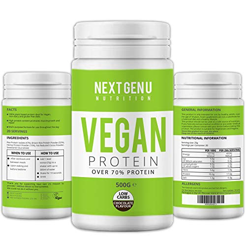 Next Gen U | Vegan Chocolate Protein Powder 500g | Over 70% Protein | Pea Protein Isolate Brown Rice Protein and Hemp Proteins Powders | Amino Acid Low Carbs Gluten Free Dairy Free Premium Nutrition