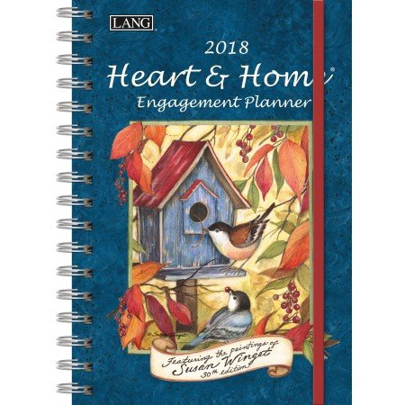 """LANG - 2018 Spiral Engagement Planner - """"Heart & Home"""" - Artwork By Susan Winget - 12 Month by Week or Month - 6.25"""" x 9"""""""
