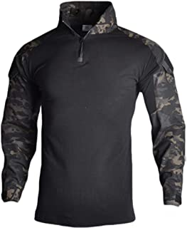 YOUNGFASHION Combat Military Tactical Shirts Airsoft BDU Long Short Sleeve Slim Fit Shirt with Zipper for Men