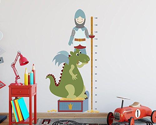 TinyFoxes wandsticker hoogte grafiek ridder en draak 150 x 77 cm