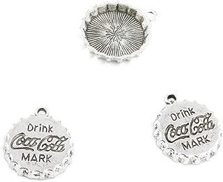 15 Pieces Jewelry Making Charms Retro Silver Tone for Necklace Pendant Bracelet Findings Vintage Bijoux Breloques Bulk 60037 Coca Cola Drink Cap