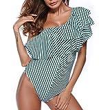 YONKINY Monokini Un Hombro para Mujer Bañador Una Pieza Rayas Conjunto de Bikini de Volante Cintura Alta Traje de Baño de Brasileño Asimétrico Verano Sexy Push Up Ropa De Playa (Verde, S)
