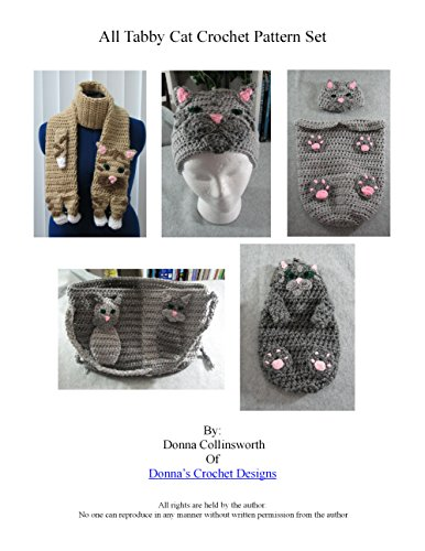 Tabby Cat Scarf, Hat, Baby Cocoon, Purse and Coin Purse Set Crochet Pattern (English Edition)
