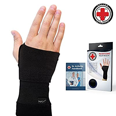 Doctor Developed Copper Infused Wrist Sleeve/Wrist Support/Wrist Brace/Wrist Compression Sleeve [Single] & Doctor Written Handbook— Relief for Wrist Injuries, Arthritis & More (M)