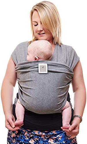 Premium Baby Carrier Newborn to Toddler | Baby Sling | One Size Fits All | Stretchy Baby Wrap | Cozy & Soothing for Babies| Ideal Baby Shower Gift by Funki Flamingo | Neutral Grey