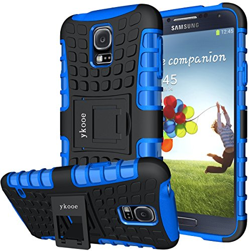 ykooe Samsung Galaxy S5 Case, (Armor Series) Galaxy S5 New Dual Layer Shockproof Case Silicone Phone Protective Cover with Kickstand for Samsung Galaxy S5 i9600 (Blue)