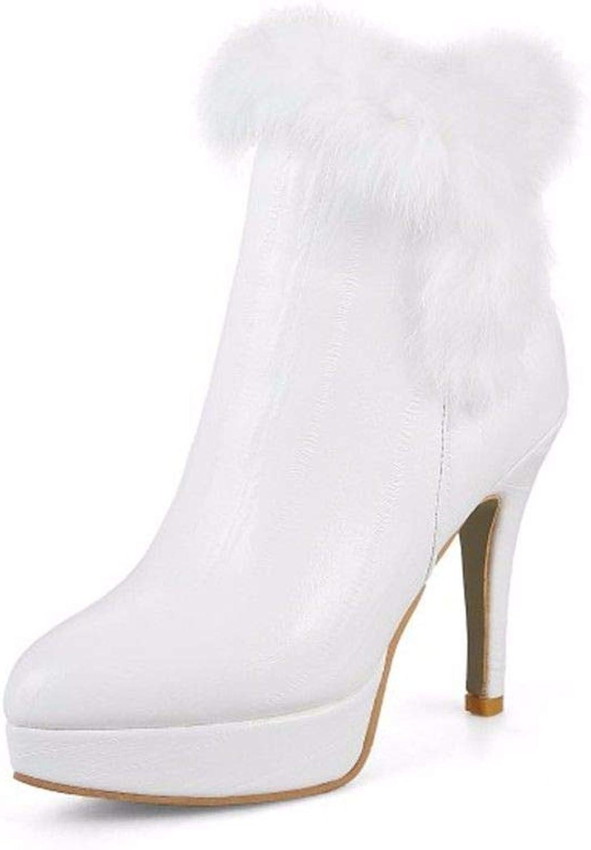 Autumn and Winter Pu Side Zipper Waterproof Platform fine Heel high Heel Female Big Code Short Boots
