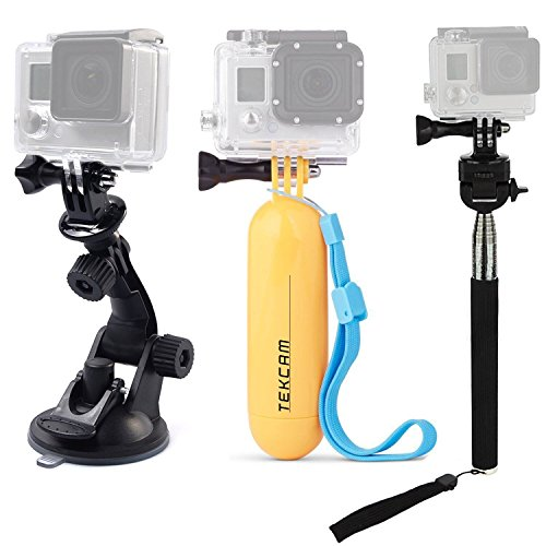 TEKCAM Action Camera Accessories Kits Bundle Compatible with Gopro Hero 9 8 7/AKASO EK7000/Brave 4/7 LE/ V50X/Dragon Touch 4k Waterproof Camera Car Suction Cup Mount Floating Handle Grip Selfie Stick
