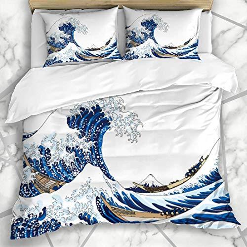 Juego de Funda nórdica Fuji Big Wave para Parques Naturales, Agua, Hokusai Ocean, diseño Vintage, Ropa de Cama de Microfibra Marina con 2 Cojines