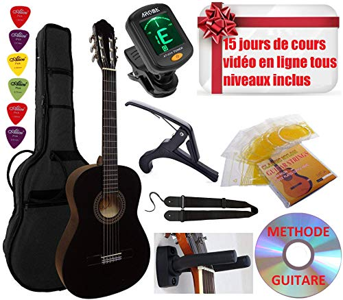 classement un comparer Set de guitare classique 4/4 (adulte), 6 accessoires vidéo et DVD (noir)