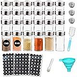 MEckily 24er Set Gewürzglas- Gewürzgläser R&er Glasbehälter Füllmenge 120 ml,10,5 x 4,3 cm Luftdichte Kappe, Tafel und Transparentes Etikett, Shaker-Einsatzoberteile & Breiter Trichter
