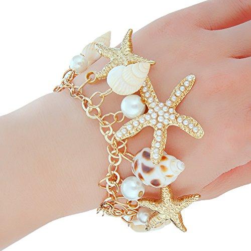 Zhuotop Damen Armband mit Seesternen und künstlichen Perlen Muschel Armband Armkette