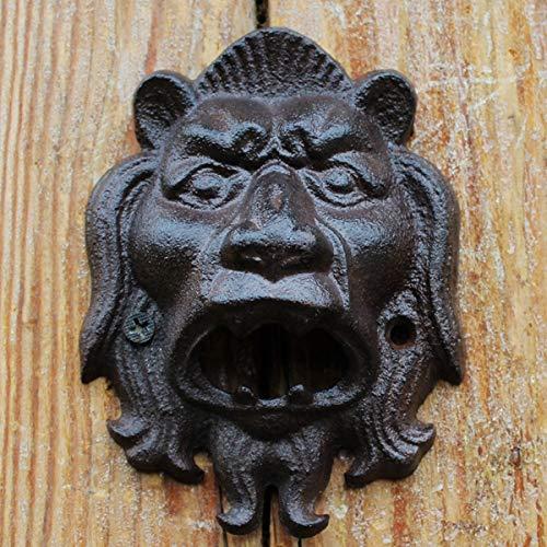 HIUHIU Europäische Weinlese-Löwe-Kopf-Entwurf Home Bar Dekor der Wand befestigte Eisen Bier Flaschenöffner Cast,Lion Head
