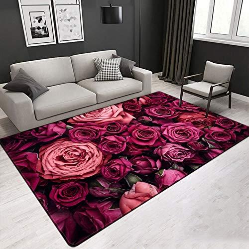 FLOORMATJING Moderner, weicher, stilisierter Teppich Geeignet für Schlafzimmer und Wohnzimmer Wohnzimmermöbel rutschfeste, waschbare Ornamente,02,100 * 150cm