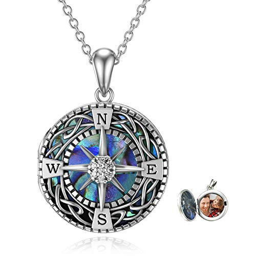 Compass Locket Necklace That Holds Pictures 925 Sterling Silver Celtic Knot Abalone Shell Compass Graduation Friendship Talisman Travel Necklace Inspirational Graduation Gift Jewelry Gifts for Women Men