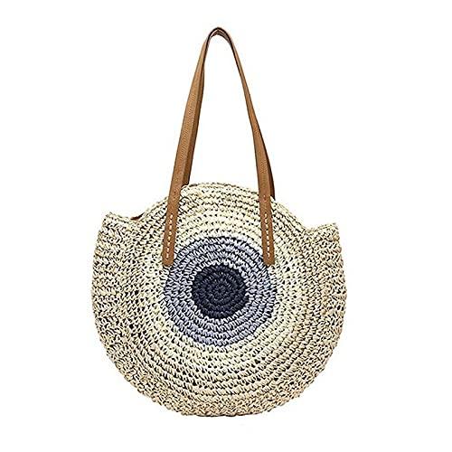 JSJJAKM Bolsas de playa para mujer, de moda, con paja, redonda, para playa, hecha a mano estilo vintage, para la compra de ratán, bolsa de viaje, color C-3, tamaño: 20 cm (longitud máxima de 30 cm)