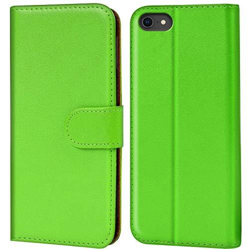 Verco iPhone 8 Hülle, Handyhülle für Apple iPhone 7, iPhone SE 2 (2020) Tasche PU Leder Flip Hülle Brieftasche - Grün