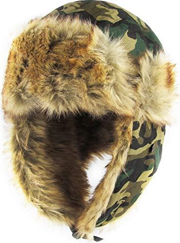Save %55 Now! Camo Solid Trapper Hat Winter Ski Cap Faux Fur