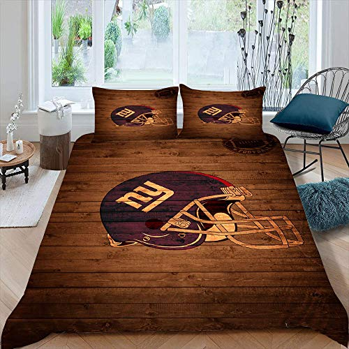 American Football League Team Logo 3D Printed Duvet Cover Set New-York-Gia-NTS Duvet Cover Set with Zipper Closure Ultra, Queen Size