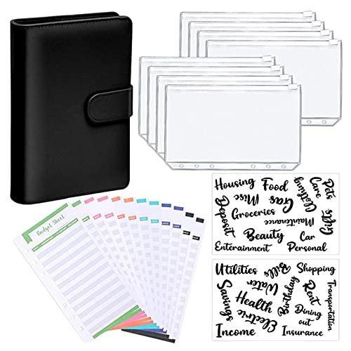 Ocobetom Leren notitieboekband, A6 budget-binding, lichte, praktische omslagmap met doorzichtige zakken met ritssluiting…