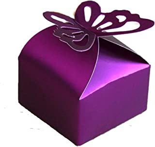 Gdeal 100Pcs Butterfly Wedding Favor Box Candy Box Gift Box, Party Favor Boxes for Bridal Shower Anniverary Wedding Party Favor (Purple)
