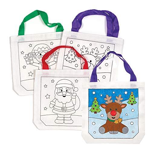 Baker Ross AW968 Kerstmis schoudertas van stof (3 stuks) feestelijk knutselen voor kinderen, gesorteerd