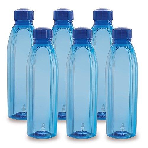 Cello Crystal PET Bottle Set, 1 Litre, Set of 6, Blue