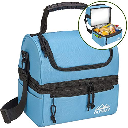 Blue Padded Insulated Lunch Bag Cooler – Soft Collapsible Leak Proof Tote For Camping, Picnics and Travel – 2 Large Compartment, Zippered Pocket and Side Pouches - Outrav