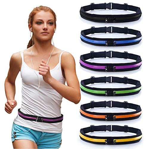Peicees 2 Pack Running Belt Waist Pack Fanny Pack with 2 Expandable Pockets for Men and Women Hiking Jogging Walking Cycling etc, Sweatproof Rainproof Mobile Phone Pouch Bag(Purple-1 Pack)