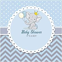 Laeacco 8x8ft Cute Elephant Boy Prince Baby Shower Party Backdrop It's A Boy Blue Background Calf Elephant Chevron Striped Backdrop Birthday Decorations Photography Background Photo Banner Vinyl