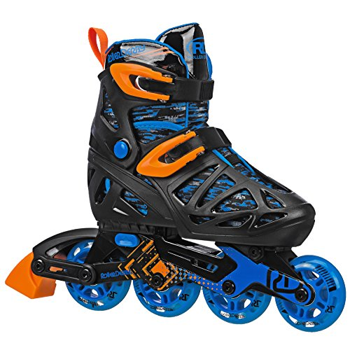 Roller Derby Tracer Boy's Adjustable Inline Medium (2-5), Black/Blue/Orange Tracer
