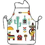 Fanqig Delantal con Peto Unisex Iconos de México para Bordes cosidos a la Parrilla Tamaño 72 cm x 52 cm