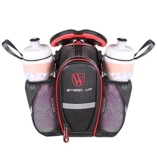 MOOZO Water Bottle Bag, Waterproof Rear Under Seat Bike Saddle Bag, Double Bottle Pouch Bicycle Tail Pocket with Reflective Strip for Mountain Road Bike Water Bottle/Repair Tools Kit (Black \& Red)