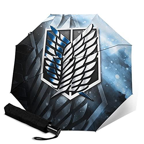 Taschenschirme Attack on Titan Automatischer, tragbarer dreifach faltbarer Regenschirm, kompakt und tragbar, faltbarer Windschutz, wasserdicht, Anti-UV-Regenschirme