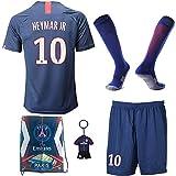 BAOKUAN Maillot de Football pour garçons # 10 Neymar PSG Home - Pantalon et Chaussette de Football pour Enfants avec Chaussettes de Football .Sac. Porte-clés (8-10 Years of age/26)