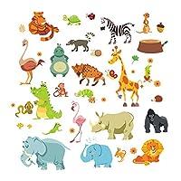 Fablcrew 動物 ウォールステッカー 象 ライオン シマウマなどの動物 幼稚園 子供部屋 保育園 子供教室 60*30cm
