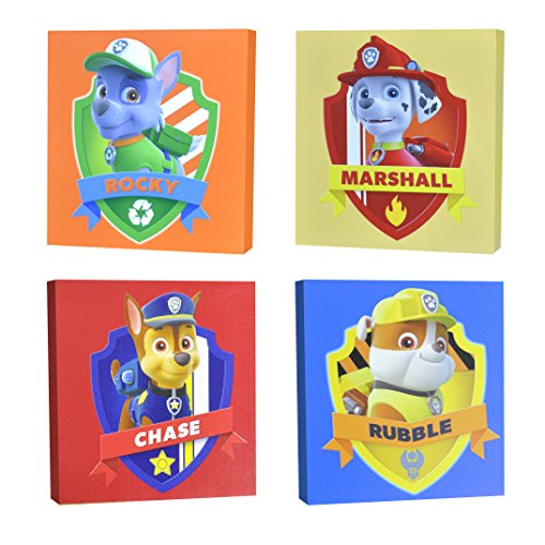 """Nickelodeon Paw Patrol Square Canvas Wall Art 11"""" Toy (Pack of 4)"""