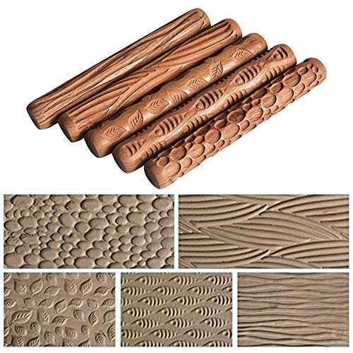 Yushen 5Pcs Wooden Clay Texture Rolling Emboss Plaid Hand Rollers Polymer Clay Ceramic Pattern Pottery Tools