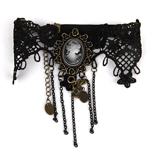 Colcolo Lace Arm Chain Badge Upper Armband Brass Bowknot Decorate Bracelet - Black