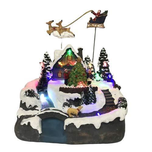 Hampton&Stewart Animated Village Scene LED Light Up Train House Christmas Decoration Ornament Flying Santa